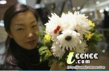 จัดช่อดอกไม้เป็นน้องหมา