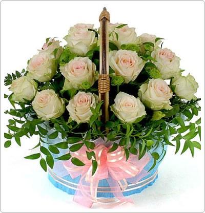 กระเช้าดอกไม้, ดอกกุหลาบ