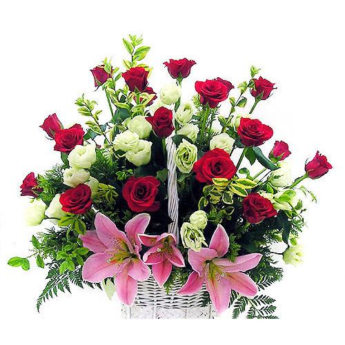 กระเช้า, ดอกไม้, ดอกกุหลาบ