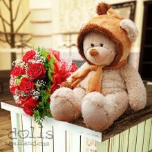 ตุ๊กตาหมีกับดอกกุหลาบสวยๆมาแล้วจ้า