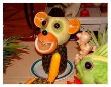 ผักผลไม้แกะสลัก ลายการ์ตูนสุดน่ารัก
