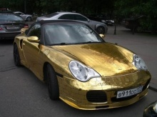 Gold Plated Porsche 911 Cabriolet in Russia