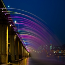 สะพานน้ำพุสายรุ้ง Banpo Bridge สะพานน้ำพุที่ยาวที่สุดในโลก