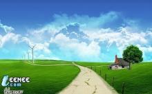 ทุ่งหญ้าสีเขียวท้องฟ้าสดใสในวันสบายๆ