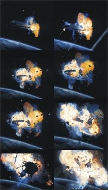 ภาพกระสวยColumbia ระเบิดบนอวกาศ