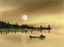 [Moonlight water color picture]
