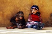 หนูน้อยกับลิงจ๋อน่ารักซะจริง!!~